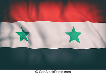 Syria flag - 3d rendering of an old Syria flag waving
