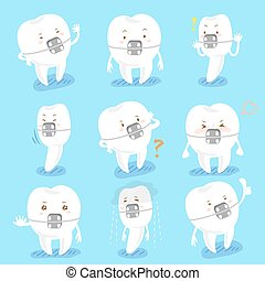 tooth wear brace do emotion - cartoon tooth wear brace...