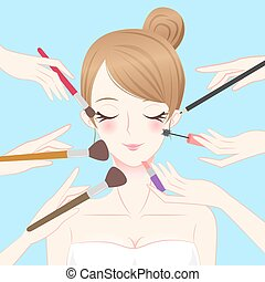 cartoon beauty make up woman