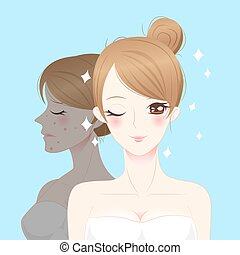 beauty cartoon skincare woman before and after