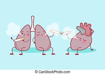 lung and heart enjoy smoke - cute cartoon lung and heart...
