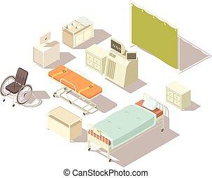 Isometric Elements Of Hospital Interior - Isolated isometric...