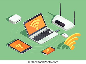 Wireless Technology Electronic Devices Isometric Poster -...