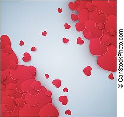 Vector festive background Valentine's Day. Template for postcards. Red hearts on a gray background with place for text.