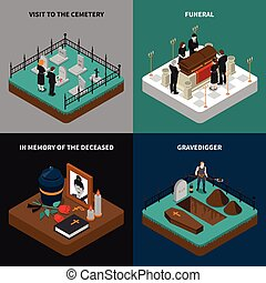 Funeral Isometric Concept - Funeral isometric concept with...