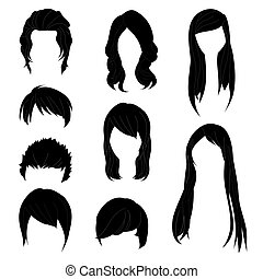 Collection Hairstyle for Man and Woman Black Hair Color Set...
