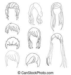 Collection Hairstyle for Man and Woman Hair Drawing Set 1....