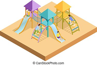 Isometric Playground Composition - Colored isometric...