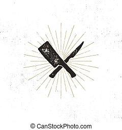 meat cleaver and knife symbols. Vintage steak house symbol. Letterpress effect with sunbursts. Vector design