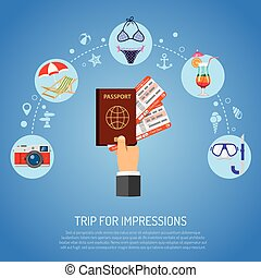 Vacation and Tourism Concept with Flat Icons deck chair,...
