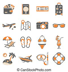 Vacation and Tourism Icons Set - Vacation and Tourism two...
