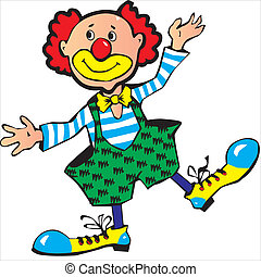 Clown - Funny red-haired clown Vector art-illustration on a...