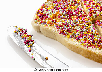 Fairy Bread with Butter Knife Side View - Fairy bread with...