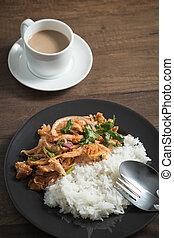 Spicy chicken salad with Jasmine rice - Thai food, Spicy...