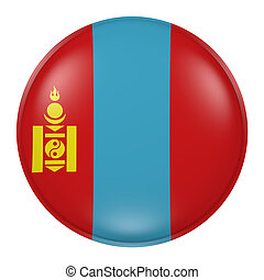 Silhouette of Mongolia button - 3d rendering of Mongolia...