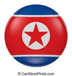 Silhouette of North Korea button - 3d rendering of North...