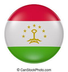 Silhouette of Tajikistan button - 3d rendering of Tajikistan...