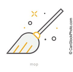 Thin line icons, Mop - Thin line icons, Linear symbols, Mop