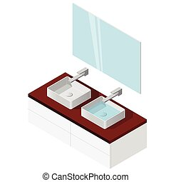 Bathroom sink. Isometric basin with tap. Kitchen interior infographic element.