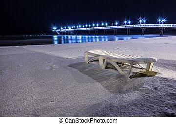 Pier Francavilla al Mare blanketed in snow