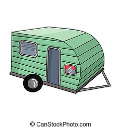 Green caravan icon in cartoon style isolated on white background. Family holiday symbol stock vector illustration.