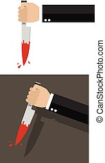 Businessman holding a knife in hand. Vector illustration