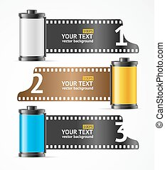 Camera Film Roll Cartrige Banner Card. Vector - Realistic...