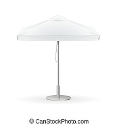Promotional Square Advertising Outdoor White Umbrella. Vector