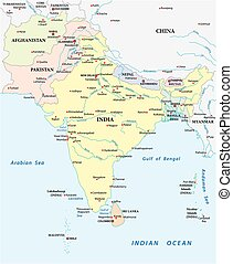 detailed vector map of south asia with the biggest cities