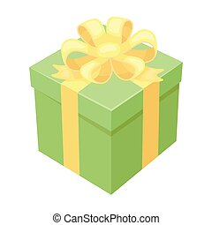 Gift icon in cartoon style isolated on white background. Charity and donation symbol stock vector illustration.