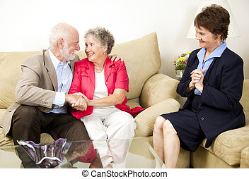 Marriage Counseling Success - Happy senior couple benefits...
