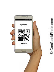 Holding isolated smart phone with qr code