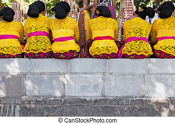 Balinese women in temple - Group of beautiful Balinese women...