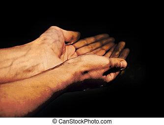 hands in oil