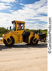 Heavy Vibration roller at asphalt pavement works road...