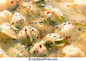 the meat dumplings in broth