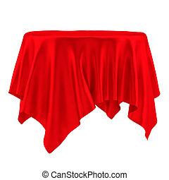 Empty round red table cloth. Isolated on White Background....