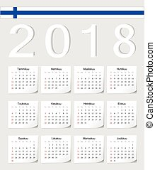 Finnish 2018 calendar - Finnish 2018 vector calendar with...