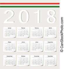 Hungarian 2018 calendar - Hungarian 2018 vector calendar...