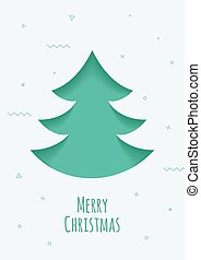 Christmas card with a green background in the style of the material design.