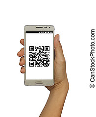 Hand holding mobile smart phone with QR code isolated white background