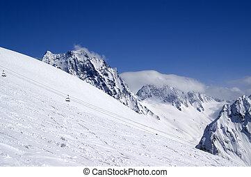 Ski slope. Dombay. Caucasus.