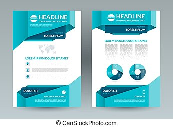 Business brochure layout template. A4 size. Front and back...
