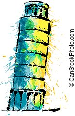 Leaning tower of Pisa made of colorful splashes