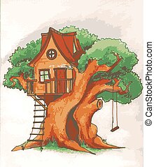 Tree house. House on tree for kids. Children playground with...
