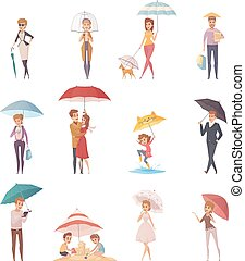 People Standing Under Umbrella - Adults people and children...