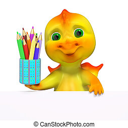 Funny small dragon character with pencils 3d rendering -...