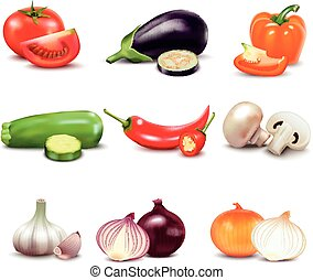 Raw Vegetables Isolated Icons - Raw vegetables with sliced...