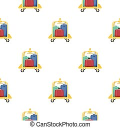 Luggage cart icon in cartoon style isolated on white background. Hotel symbol stock vector illustration.