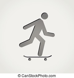 skateboarding grey icon - Illustration of skateboarding grey...